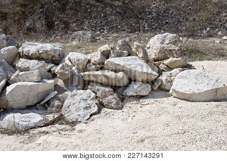 Pile Of Big White Limestones. Can Be Used As Wallpaper For A Monitor.