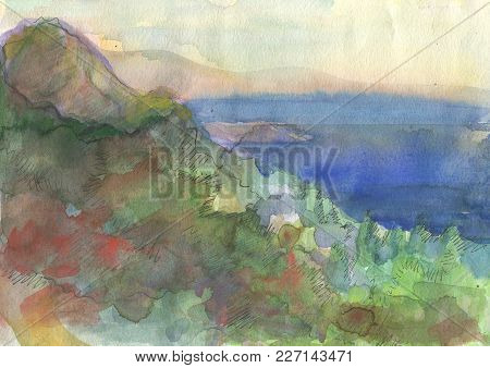 Ladscape With Sea. Original Watercolor Painting On Paper. Hand Drawing Illustration.