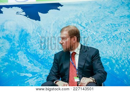 Moscow, Russia - Dec 7, 2011: Technoserv Company Chairman Of The Board Alexey Ananiev Makes Speech A
