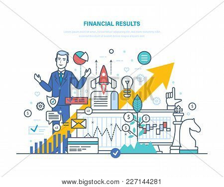 Financial Results. Data Analysis, Financial Management Report, Forecast, Market Stats, Results Activ