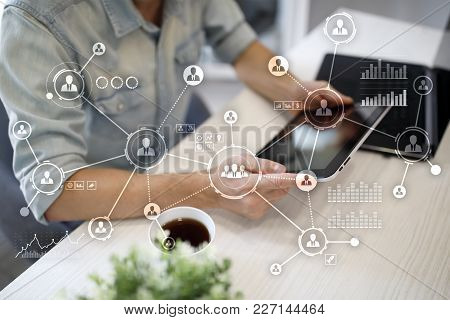 People Network. Organizational Structure. Hr. Social Media. Internet And Technology Concept