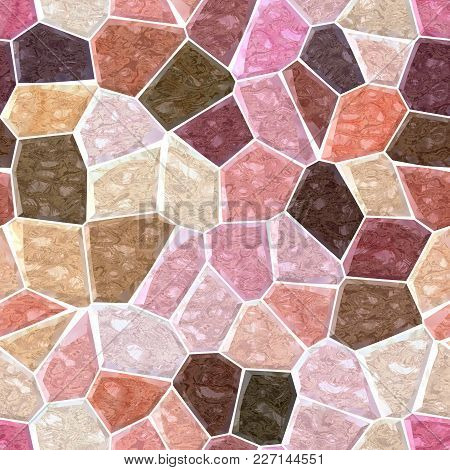 Surface Floor Marble Mosaic Pattern Seamless Background With White Grout - Old Pink Color