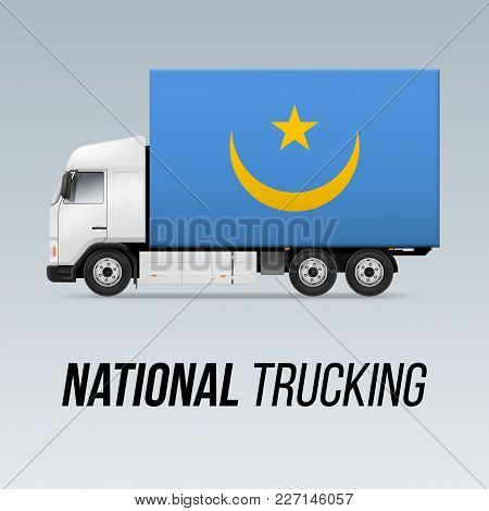 Symbol Of National Delivery Truck With Flag Of Mauritania. National Trucking Icon And Mauritanian Fl