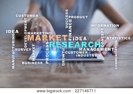 Market Research Words Cloud On The Virtual Screen