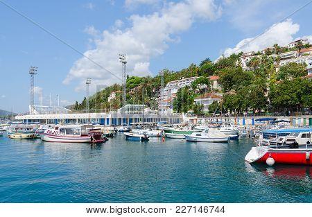 Herceg Novi, Montenegro - September 10, 2017: Swimming Pool On Quay Of Popular Resort Town Of Herceg