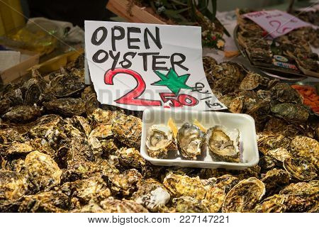 Barcelona, Spain - December 5, 2016: Fresh Open Oyster For Sale On The Santa Catarina Market In Barc