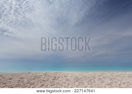 Beautiful Pebble Beach On Lefkada Island In Ionian Sea, Greece. Minimalism Landscape Photography As