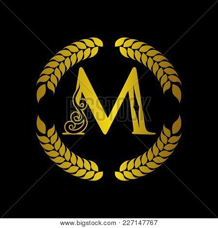 The Monogram A Letter M In An Elegant Frame. M Golden Template For Cafe Bars Boutiques Invitations.