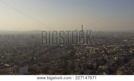Paris France, View Of Paris Skyline With The Eiffel Tower In The Distance