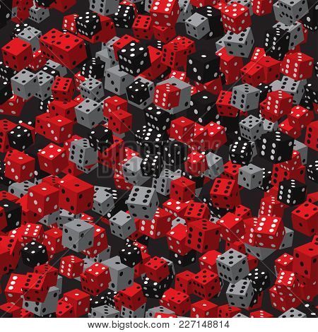 Red Black Grey Dice Seamless Pattern On Black Background