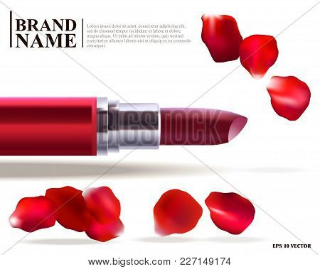 Realistic Illustration, Red Lipstick Makeup, Template For Cosmetics, Lipstick With Rose Petals