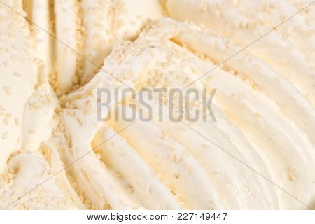 Close Up Of Vanilla Ice-cream Detailed Macro Structure