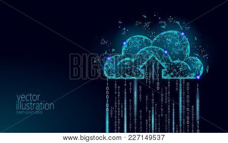 Cloud Computing Online Storage Low Poly. Polygonal Future Modern Internet Business Technology. Blue
