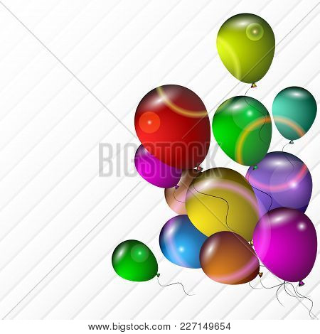 Bright Balloons With Highlights On A Light Backgroundred Gift Box With Gold Bow And Shadow