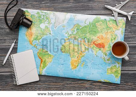 Travel Planning Map Tourism Traveler Plan Holiday Lay Desk Flat Tourist Booking Journey Pointing Pla