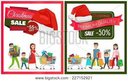Pair Of Christmas Sale Cards Vector Illustration With Two Families, Lot Of Purchases, Red Hats, Ad T