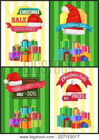 Christmas Discount For Holiday Presents Promotional Posters With Boxes In Heap And Santa Hat Cartoon