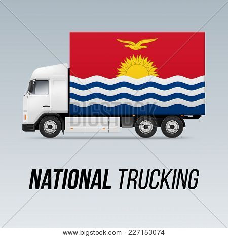 Symbol Of National Delivery Truck With Flag Of Kiribati. National Trucking Icon And Flag Design