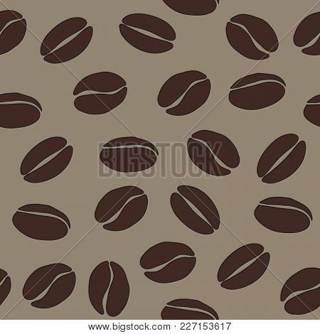 Brown Coffee Beans On Beige Background Vector Seamless Pattern, Eps 10 Background