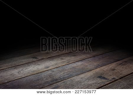 Dark Plank Wood Floor Texture Perspective Background For Display Or Montage Of Product,mock Up Templ