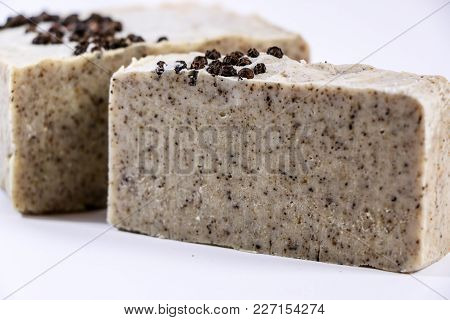 Bars Of Natural Organic Soap On White Background. Handmade Soap Making. Spa Products And Skin Care C