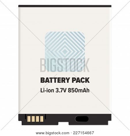 Pack Li-ion Or Lithium-ion Battery Lib Isolated On White. Vector Of Rechargeable Battery In Which Li