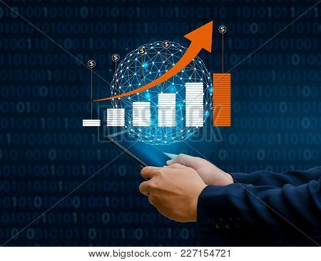 Graph Of Financial Growth Global Communications Binary Smart Phones And World Internet Businesspeopl