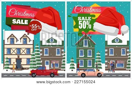 Christmas Sale Set Of Posters With Stickers And Hat Of Santa Claus, Buildings And Riding Cars, Walki