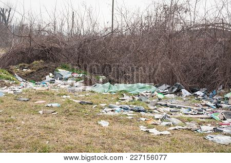 Garbage Dump On The Grass Near The Forest Ecological Disaster Concept Polluting Nature And City Park