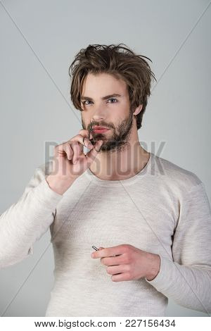 Man Trimming Nose Hair With Scissors And Tweezers. Barber And Hairdresser, Male Fashion. Single With