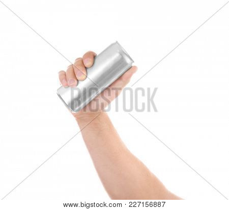 Male hand with aluminum can isolated on white