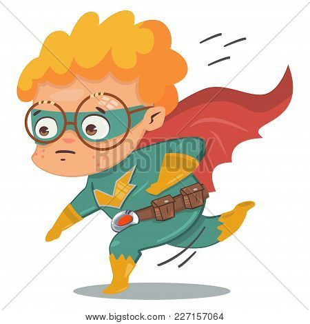 Superhero Kid In Green Costume In Cloak. Vector Cartoon Character In A Retro Style On A Blue Backgro