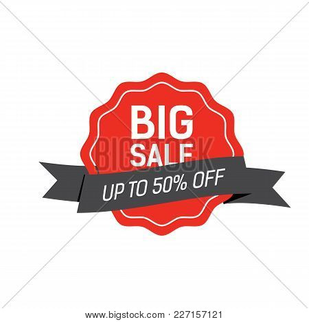 Big Sale Lettering On Red Tag With Up To Fifty Percent Lettering On Black Ribbon. Inscription Can Be
