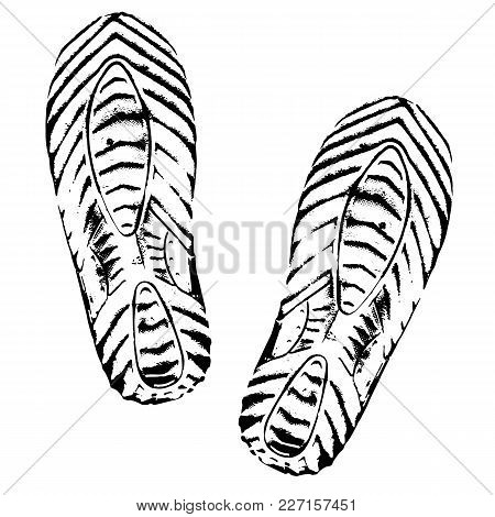 Footprints Human Shoes Silhouette On White Background