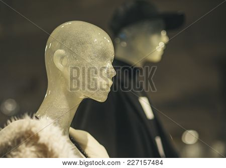 Dummy In City Mall. Shopping Center Interior. Female And Male Mannequins In Boutique. Fashion, Style