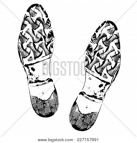 Human Footprints Shoe Silhouette. Boot Imprint, Male Shoes. Isolated On White Background