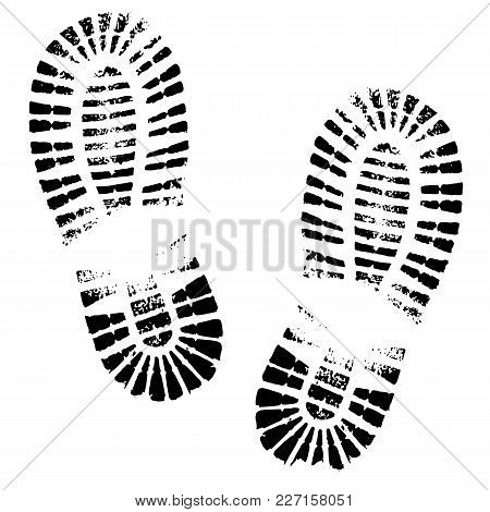 Human Footprints Shoe Silhouette. Isolated On White Background, Vector Icon