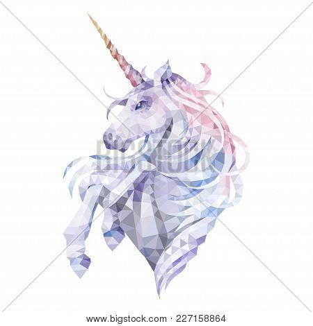 Cute Graphic Low Poly Unicorn In Pastel Colors. Vector Fantasy Art