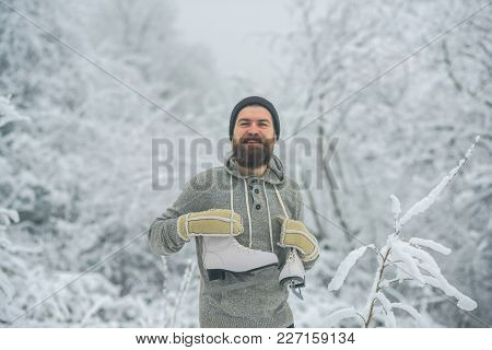 Man In Thermal Jacket, Beard Warm In Winter. Winter Sport And Rest, Christmas. Skincare And Beard Ca