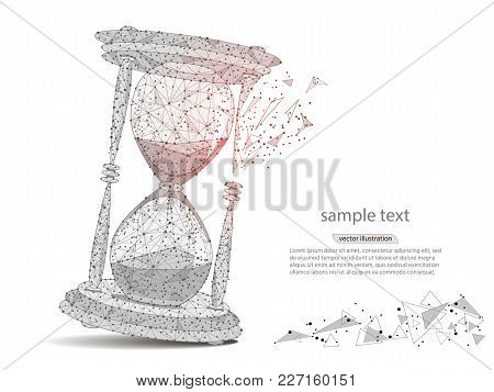 Abstract Design Of Hourglass, In The Form Of Lines And Points, The Concept Of Business And Time.isol