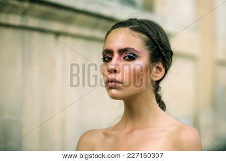 Visage, Look, Makeup. Visage Fashion And Beauty Concept.