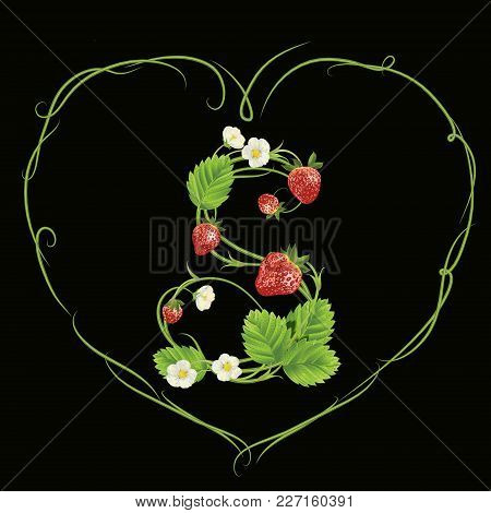 Letter S In Strawberry Style With Green Heart. Vector Realistic Illustration. Design For Grocery, Fa