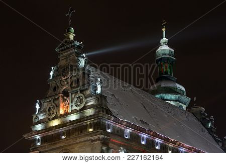 Beautiful Night Winter Lviv City (ukraine) Illuminated Cityscape. Bernardine Church And Monastery (c
