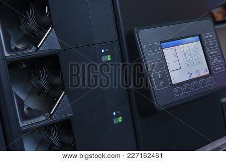 Professional Banking Equipment For Calculating Banknotes And Cash. Liquid Crystal Display Of A Speci