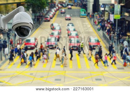 Cctv Security Camera Observation And Monitoring On The Street.