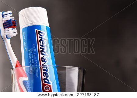 Composition With Blend-a-med Toothpaste And Toothbrush
