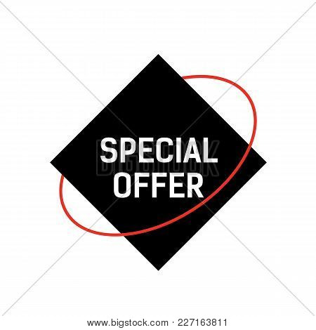 Special Offer Lettering On Black Rhomb With Red Orbit. Inscription Can Be Used For Leaflets, Posters