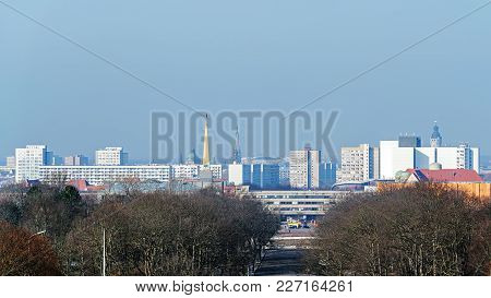 Leipzig, Germany - February 7, 2018: Panoramic View Of Leipzig, The City Of High Cultural And Econom