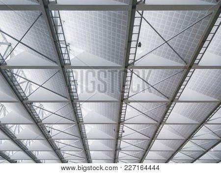 Modern Ceiling Of The New Office Building For Saving Energy Design.