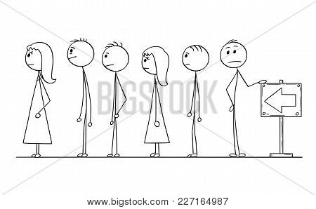 Cartoon Stick Man Drawing Conceptual Illustration Of Group Of People Waiting In Line Or Queue. Conce